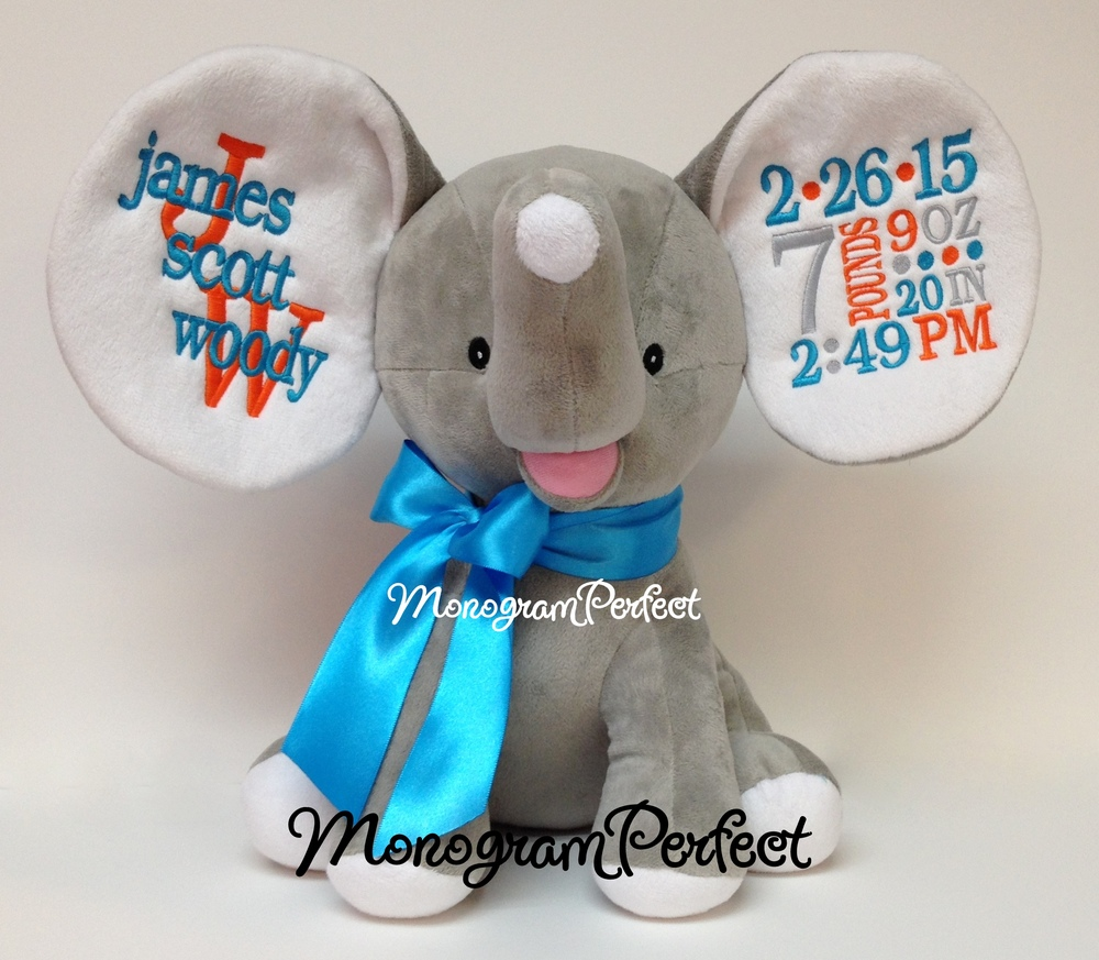 Retiring Design Personalized Gray Floppy Ear Stuffed Elephant Teal Blue Orange And Gray