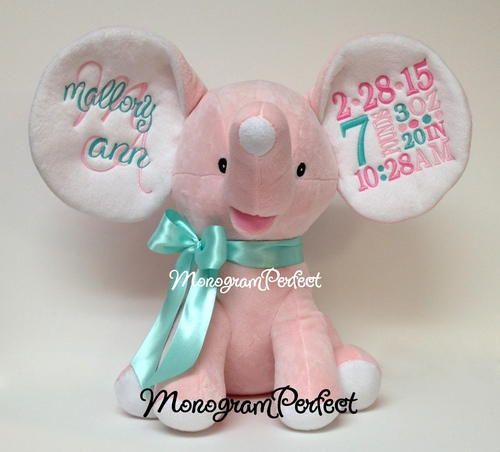 Retiring Design Personalized Birth Announcement Pink Elephant – Personalized Birth Announcement