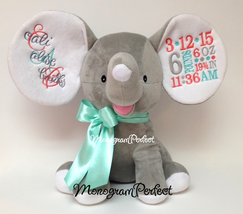retiring design personalized coral aqua gray birth