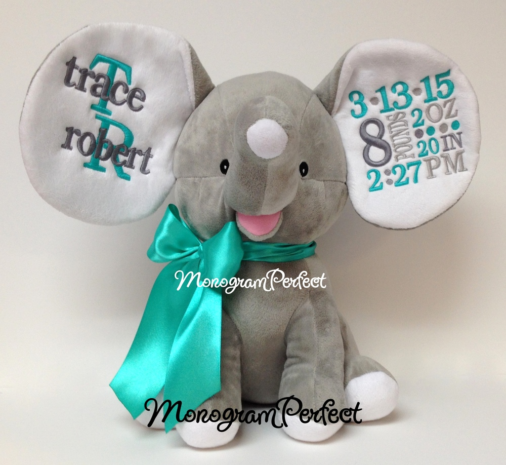 retiring design personalized gray birth announcement elephant