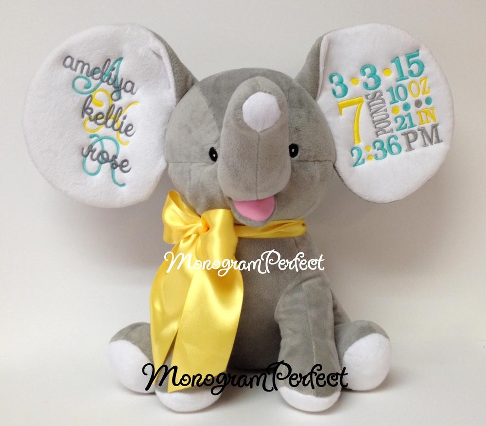 Retiring Design Personalized Birth Announcement Gray Floppy Ear