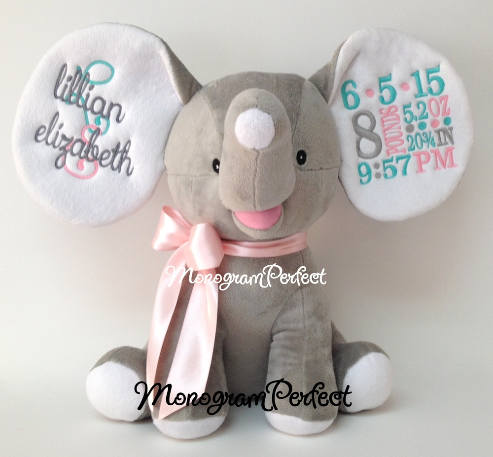 retiring design    personalized gray  light pink  u0026 aqua birth announcement elephant