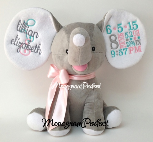 retiring design personalized gray light pink aqua birth