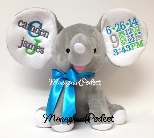 retiring design personalized gray floppy ear stuffed elephant