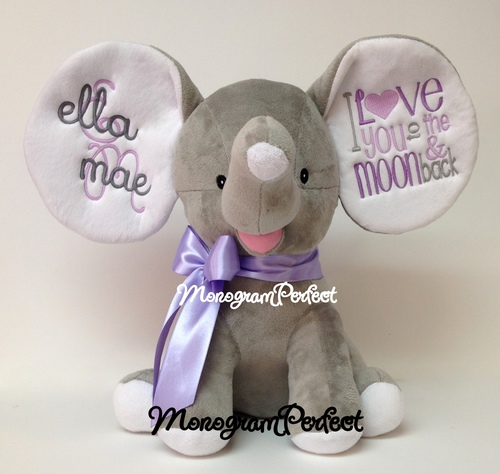 Retiring Design Personalized Gray Floppy Ear Stuffed Elephant I