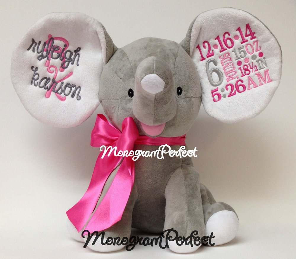retiring design    personalized birth announcement gray floppy ear stuffed elephant  hot pink