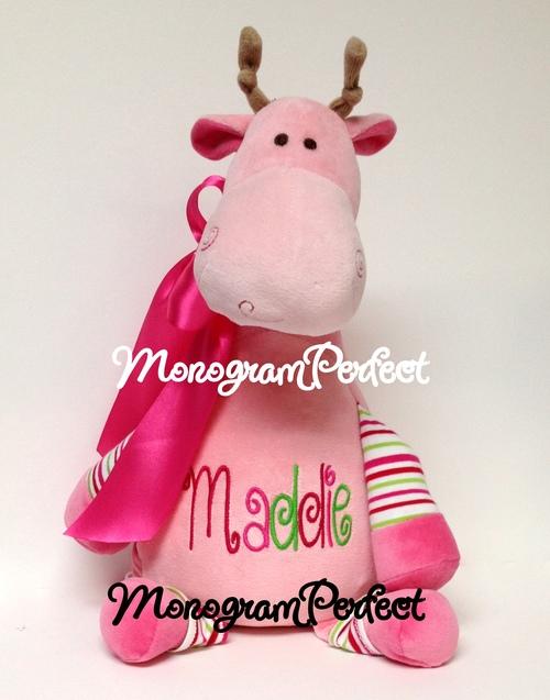 Personalized Pink Stripe Giraffe Stuffed Animal Monogramperfect