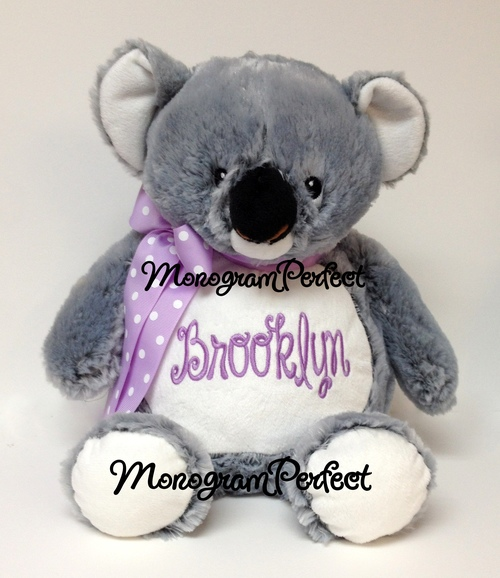 Personalized Gray Koala Bear 16 Stuffed Animal Monogramperfect