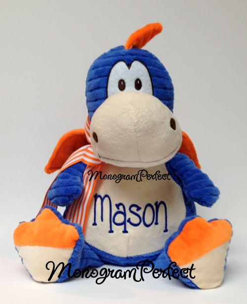 Personalized Blue Orange Dragon Stuffed Animal