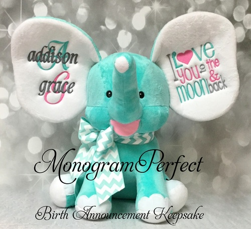 new exclusive aqua birth announcement stuffed elephant monogramperfect