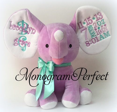 Retiring Design Personalized Birth Announcement Stuffed Purple