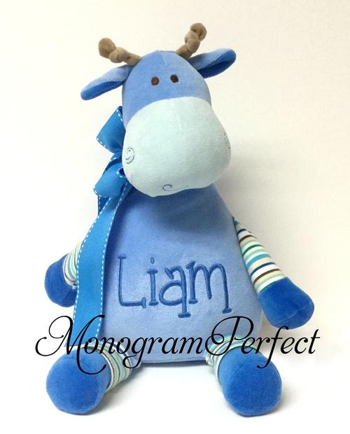 Personalized Blue Stripe Giraffe Stuffed Animal Monogramperfect