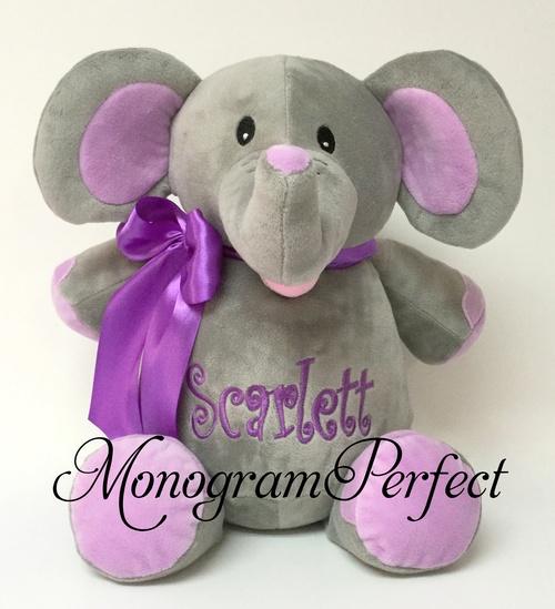 Personalized Gray Elephant W Purple Ears Stuffed Animal