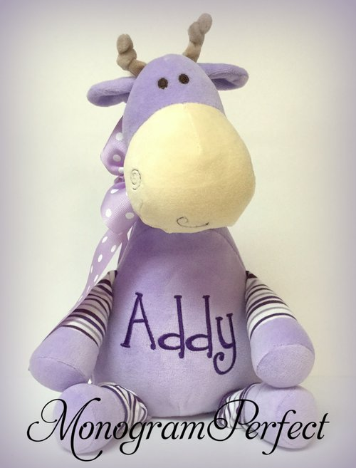 Personalized Purple Lavender Stripe Giraffe Stuffed Animal