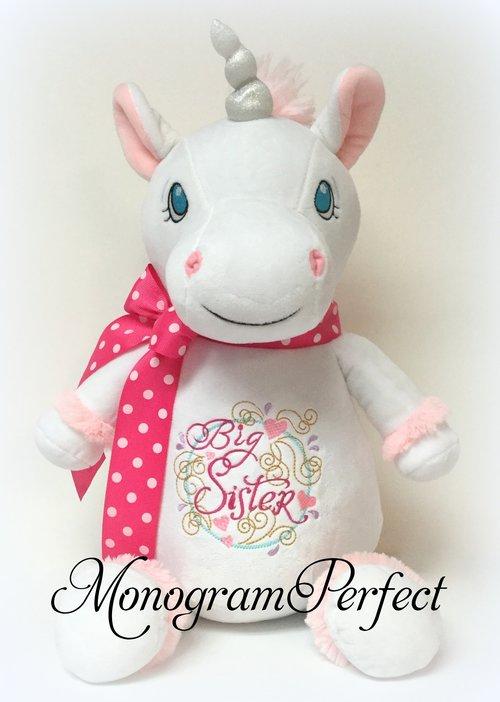 Big Sister Jumbo Personalized White Unicorn Stuffed Animal