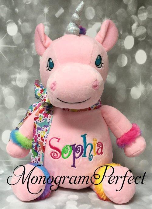 Rainbow Trim Personalized Pink Unicorn Stuffed Animal Monogramperfect