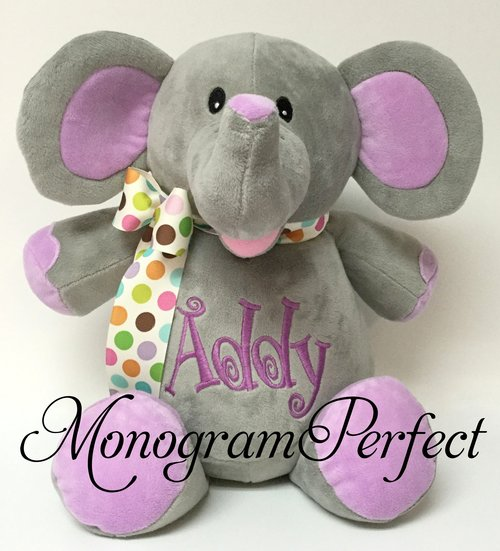 Personalized Gray Elephant W Purple Ears Stuffed Animal