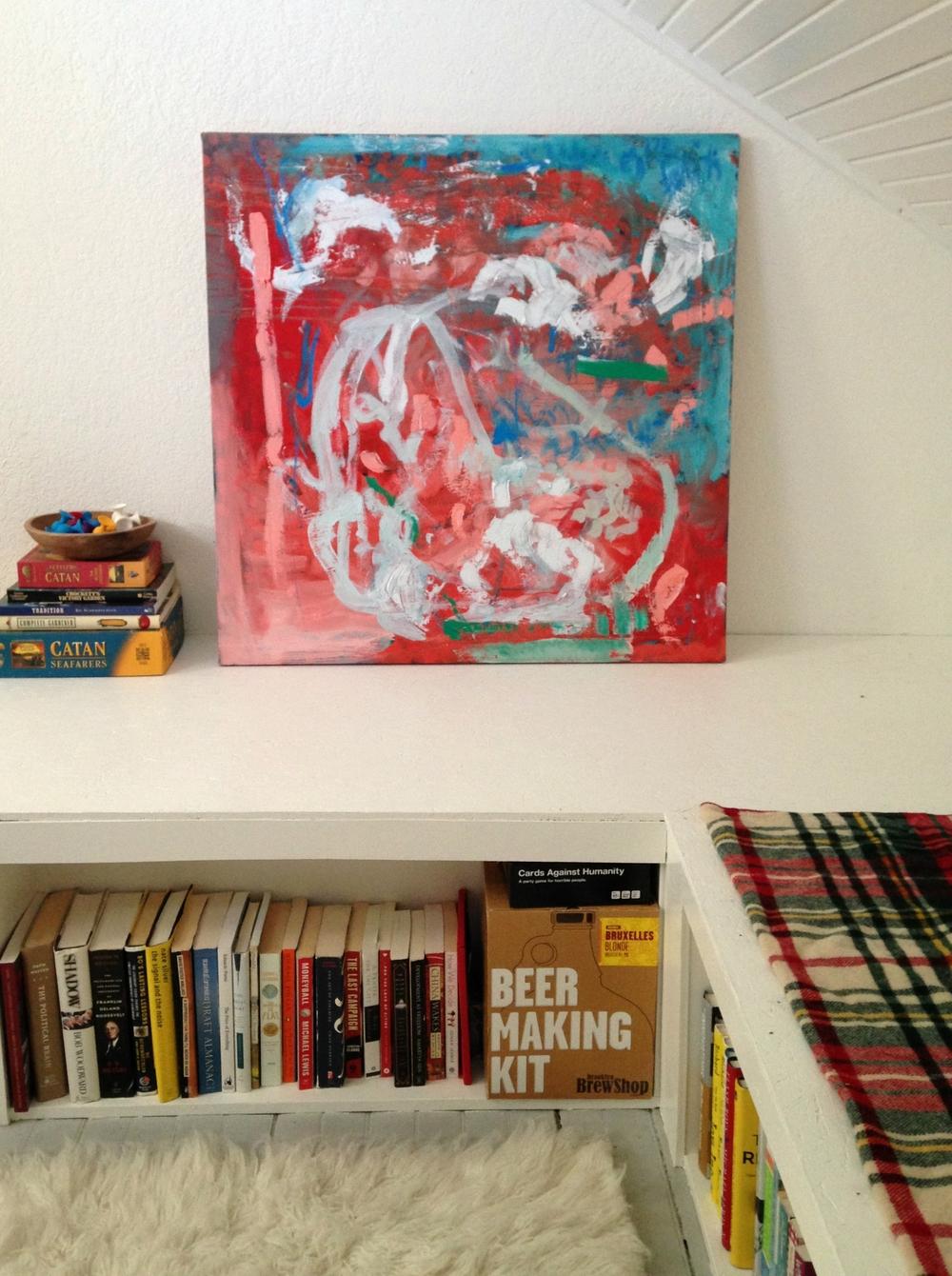 "Geranium, Fern, Bluebird, Oil on Canvas, 36"" x 36,"" $950"