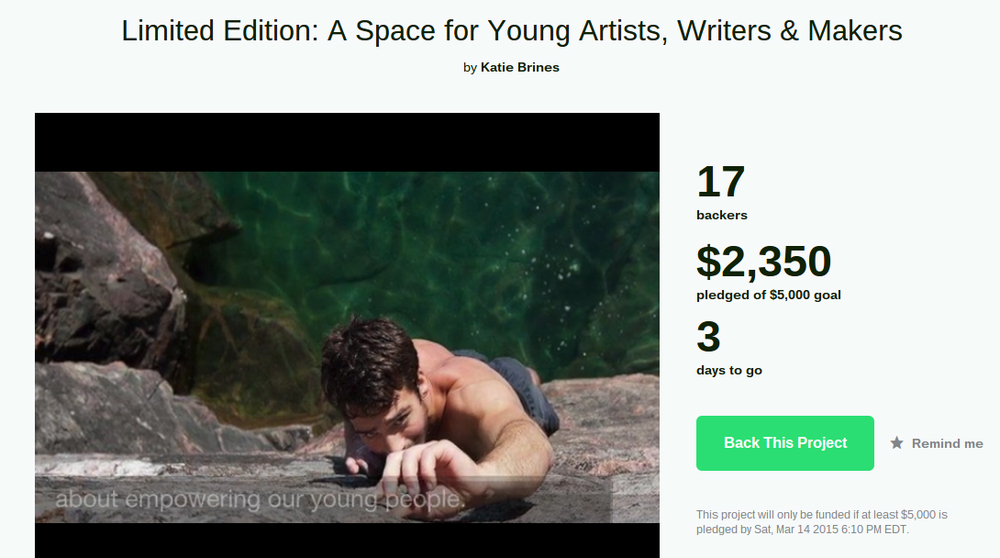 Michael Brines, one of Limited Edition's young makers, climbing in the U.P.                    Donate to our Kickstarter here: Limited Edition- a space for young artists, writers & makers