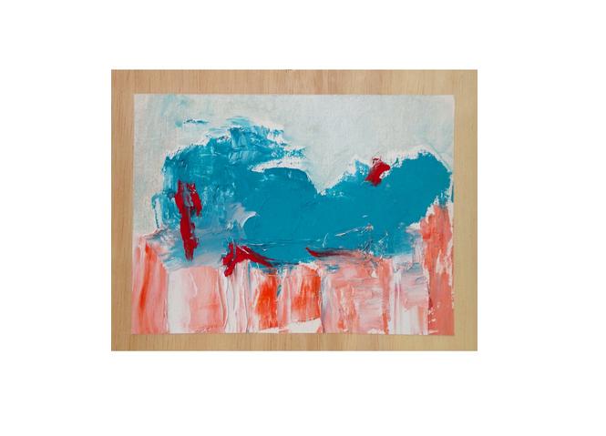 "Little Blue & Orange, oil on panel, 5"" x 7,"" $75"