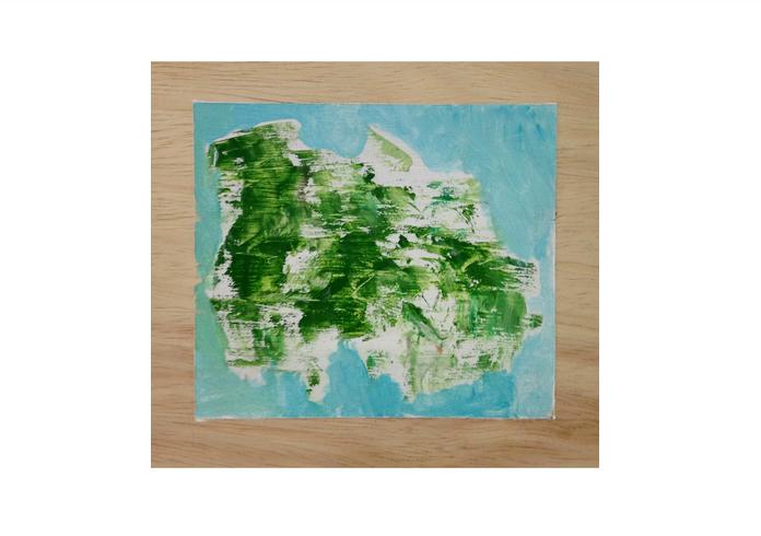 "Little Green Bush,oil on panel, 4"" x 6,"" 2015 $75"