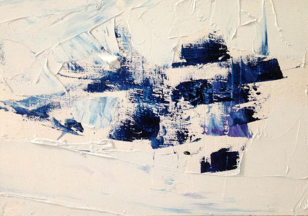 "Spring Ice, oil on panel, 4"" x 6"""