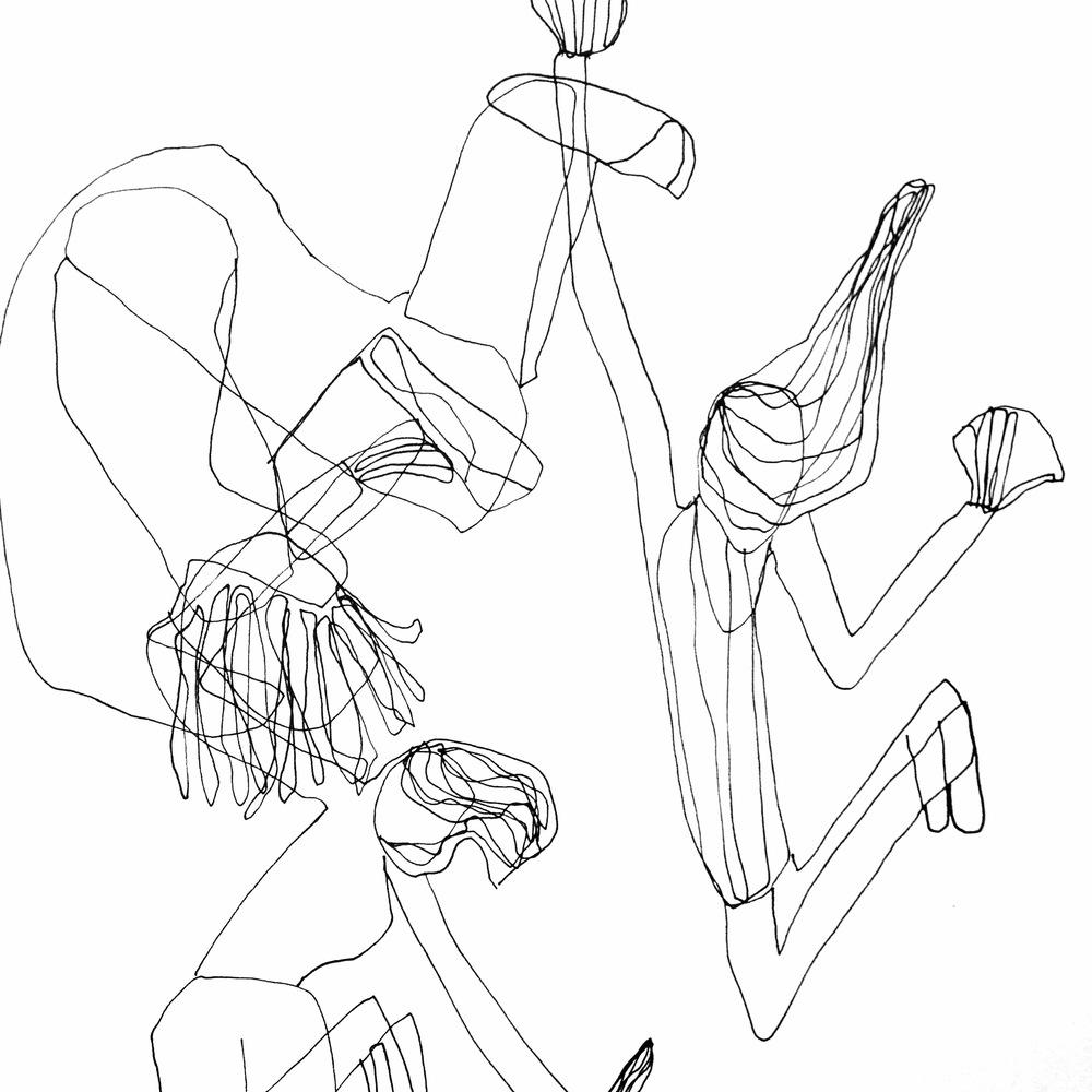 "Movement, pen on paper, 11"" x 14,"" $65"