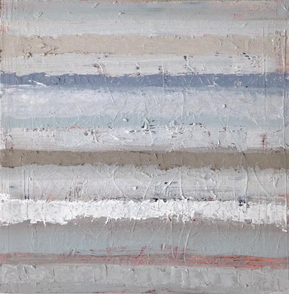 "Grey Area, oil on panel, 16"" x 16,"" $650"