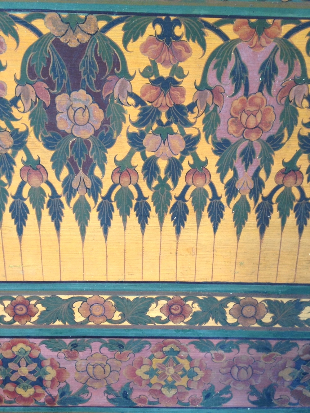 Painted walls with gold leafing, Grand Palace, Bangkok