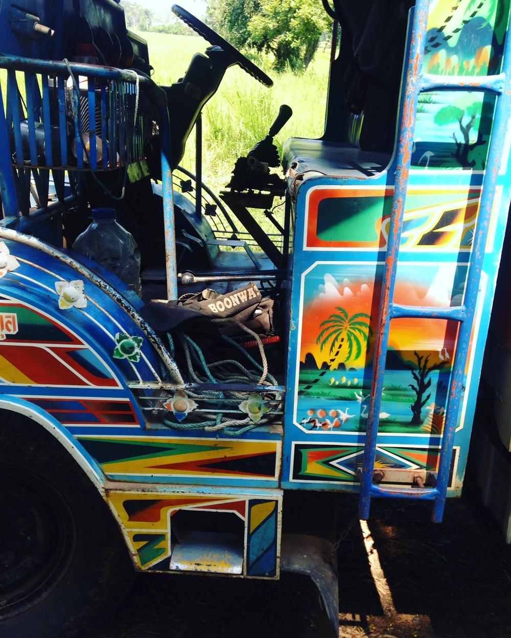 A colorful farm truck