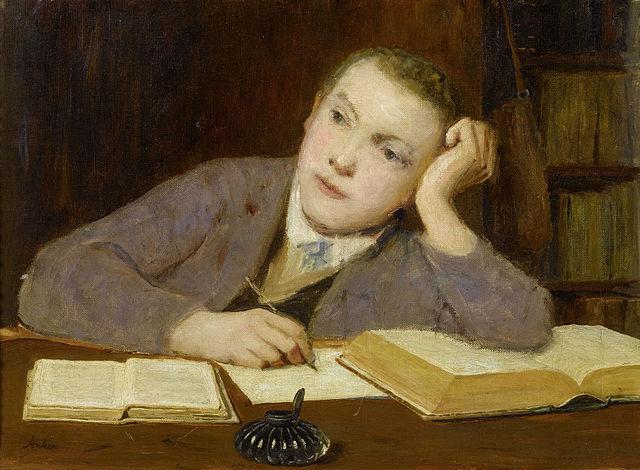 Albert Anker Schreibender Knabe