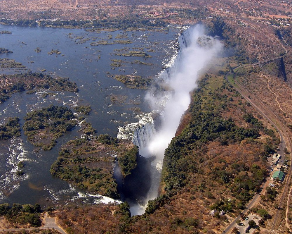 Victoria Falls from the air - Public Domain image courtesy of the  CIA World Factbook   (Click image to enlarge.)
