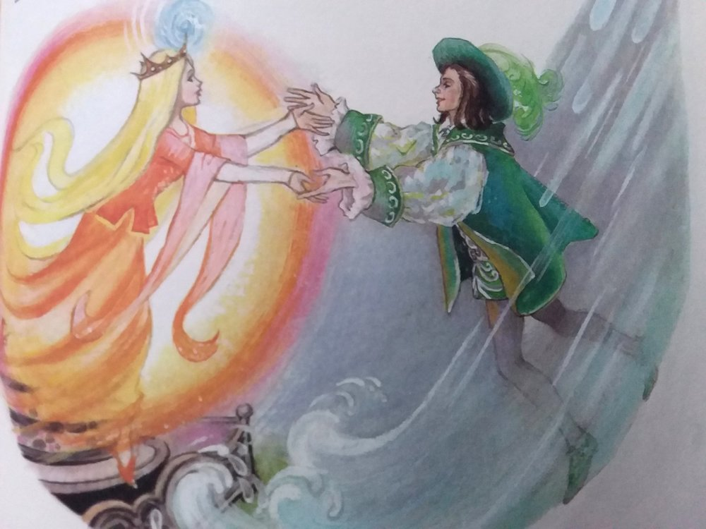 Illustration of the fire princess and the water prince from  Hilda Boswell's Treasury of Children's Stories.