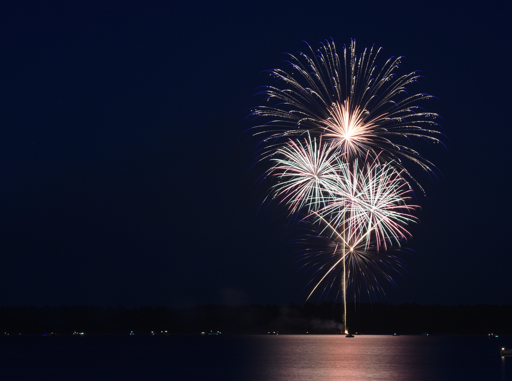 Fourth of July fireworks over Lake Bemidji.