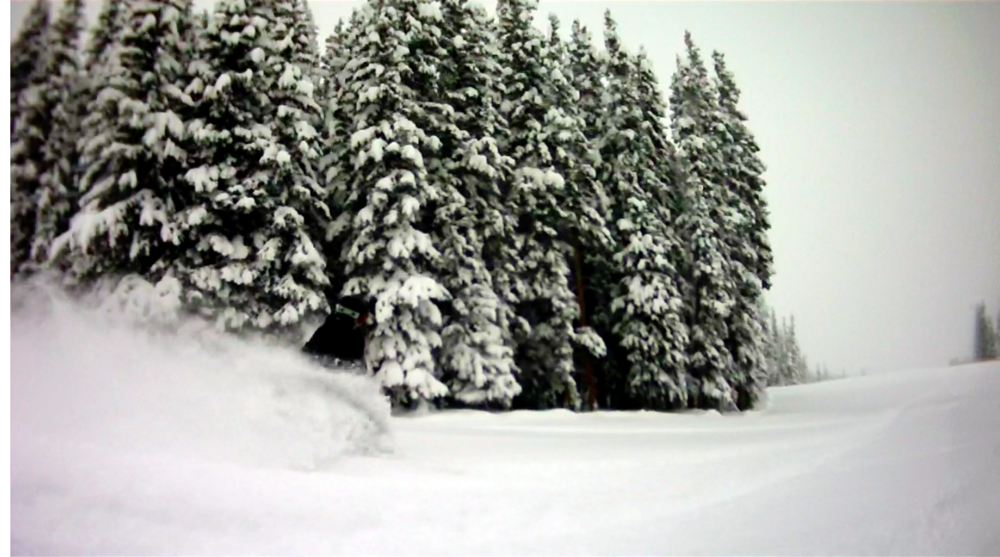 12/26/14 Powder Day at Beaver Creek: Club member and No Fall Snowboarding student Kevin Gallagher riding in deep powder.