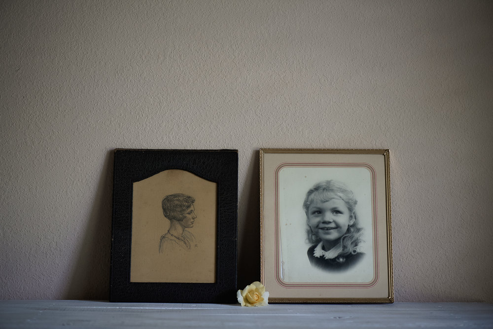 Hand drawn sketch of Grandma & an early portrait of Mom.