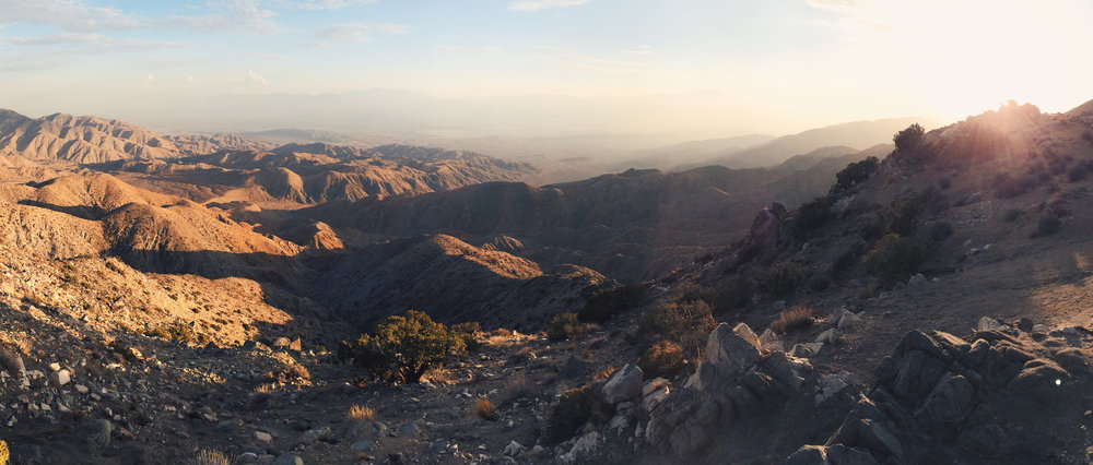 The view of Coachella Valley and the San Andreas Fault from a crest on the Little San Bernardino Mountains (called Key's View) inside the Joshua Tree National Park
