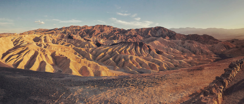 These are the Badland formations at Zabriskie Point in Death Valley National Park, California