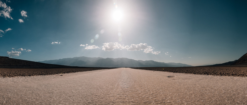 The Badwater Basin salt pan in the middle of Death Valley; the bottom of the dried-up Lake Manly