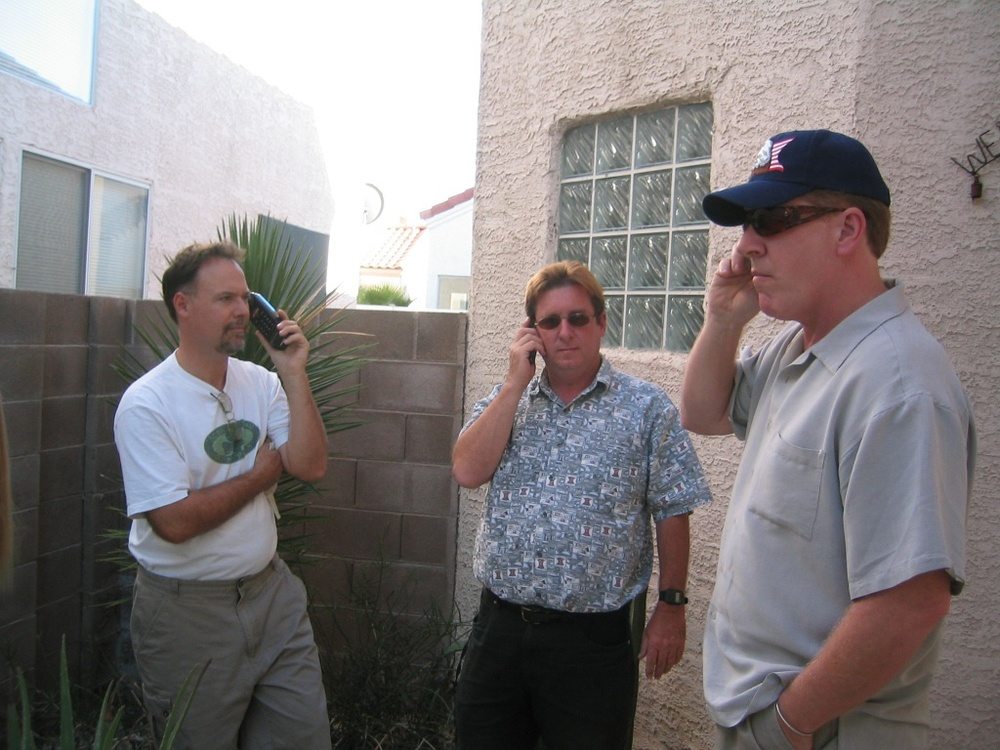 Larry, Cameron and Chaz --- standing phone men!   This is a pic taking in Las Vegas---Larry had finally broken even betting on the Vikings--and then vowed to never gamble again!