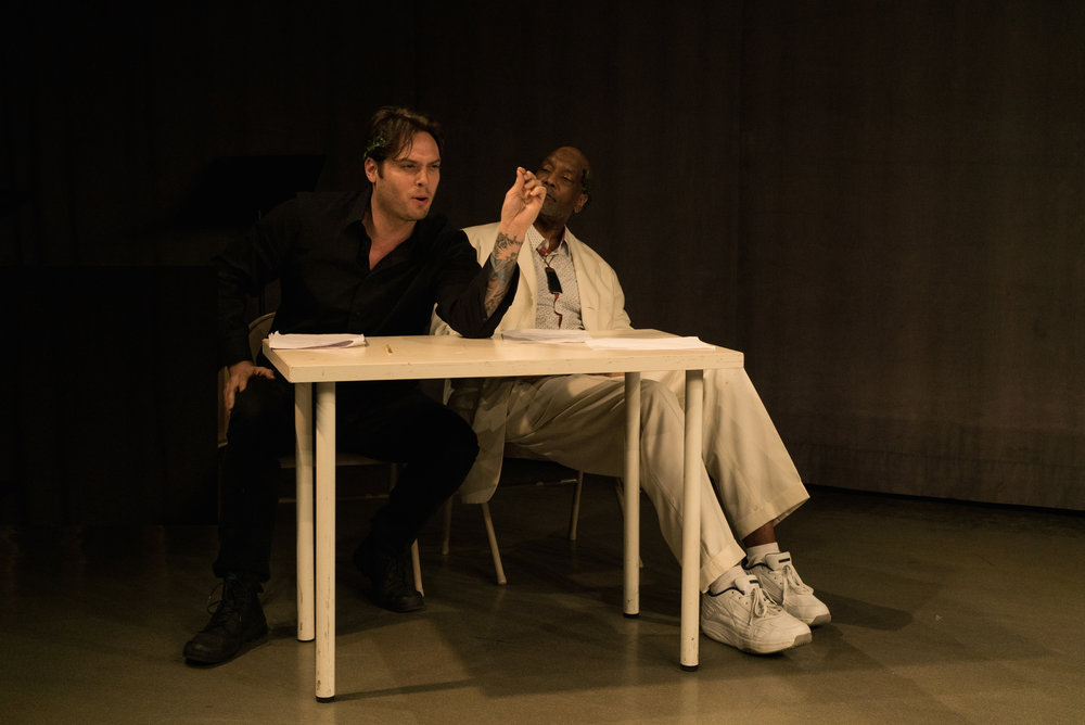 (L to R) Bobby Crace as Aristotle and Darryl Brown at Plato