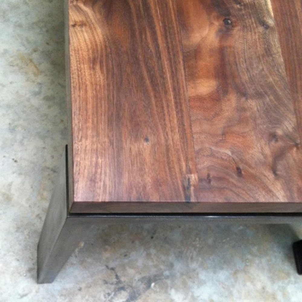 "Dining Table   Claro Walnut   72""L x 32""w x 28.5""h  Black Oxidized Steel Base"