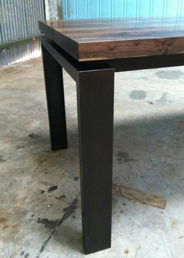 "Dining Table   Claro Walnut   72""L x 32""w x 28.5""h  Black Oxidized Steel Base  Modfied oil finish"