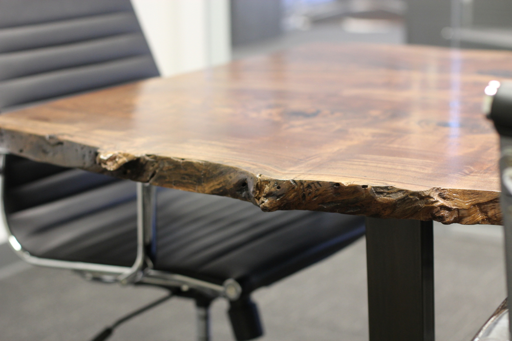 "Claro Walnut Conference table  Live Edge   12'6"" x 42' x 29""   Black Oxidized Steel Leg"