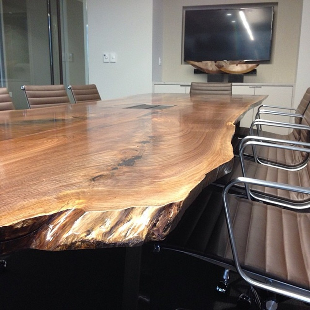 "Live Edge Conference Table  American Walnut   12' 6"" x 42"" x 28""   Black Oxidized Metal Leg"