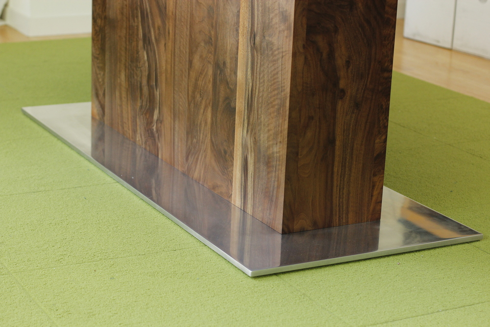 "Dining Table   Claro Walnut w Pedestal Base  Polished Aluminum Foot   96""L x 48""w x29""h   Modified Oil Finish"