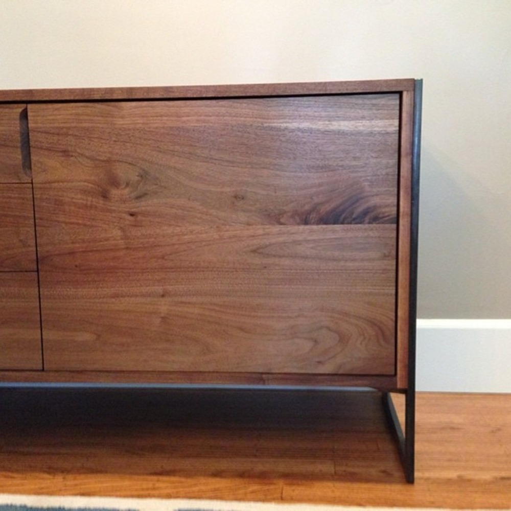 "5 Door Buffett / Sideboard  American Walnut   Modified Oil Finish   80""L x 18'd x 28.5""h   Black Oxidized Steel Leg"