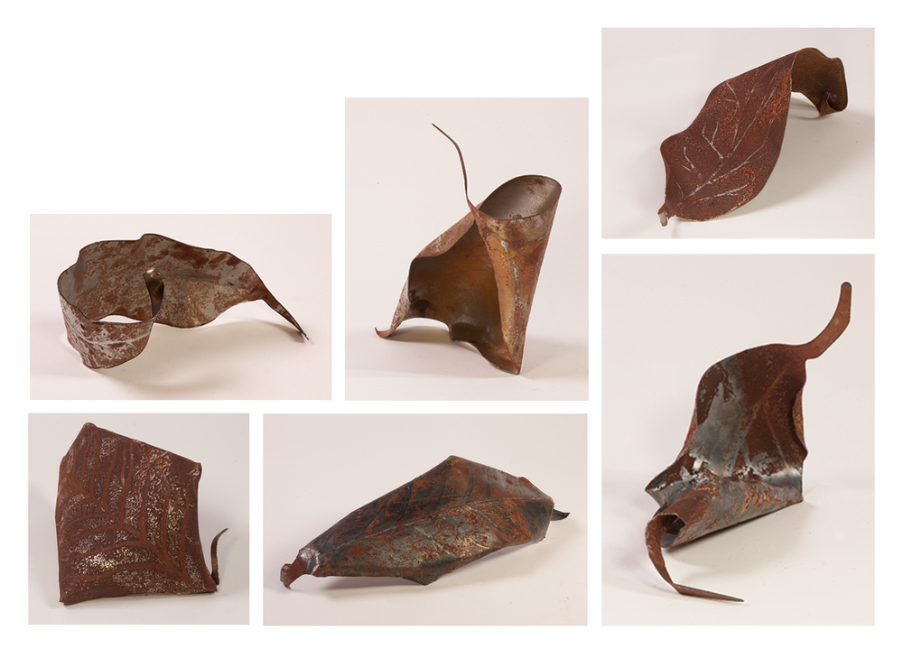 """Autumn Leaves"", 2014, Steel Sheets, Various Dimensioons; Between 16"" x 6.5"" x 8"""