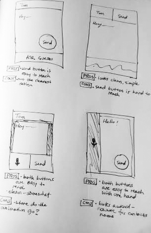 Early sketches of the dictation screen