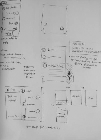 Early sketch of deciding how to implement previous messages with the dictation screen.